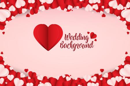 Mooie abstracte papier kunst hart bruiloft achtergrond Vector
