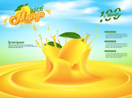 Conception de modèle de vecteur de bannière publicitaire de jus de mangue