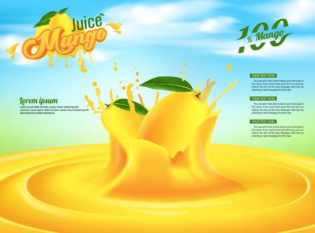 Mango Juice Advertising Banner Ads Vector Template Design Imagens - 109945531