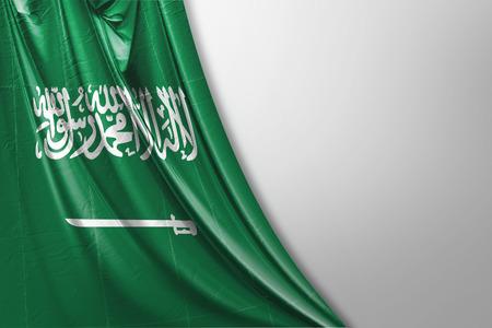 Isolated Saudi Arabia Flag waving 3d Realistic Saudi Arabian Flag Rendered