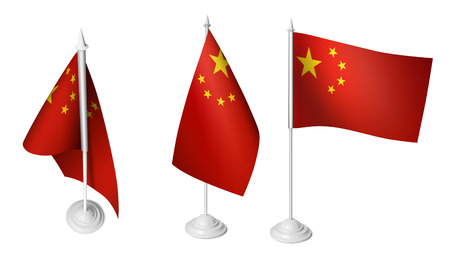 3 Isolated Small China Desk Flags 3d Realistic China Flag