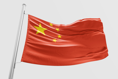 Isolated China Flag waving 3d Realistic China Flag Rendered