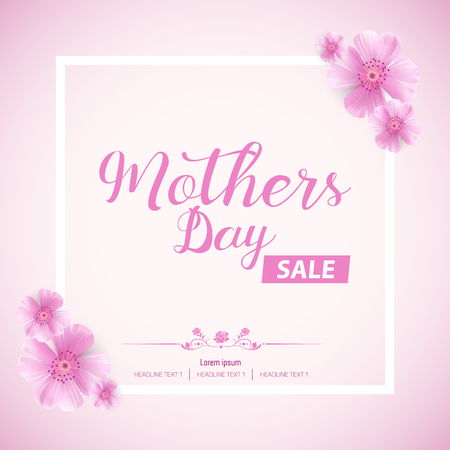 Beautiful Mothers Day Sale Abstract Banner Template Design Vettoriali