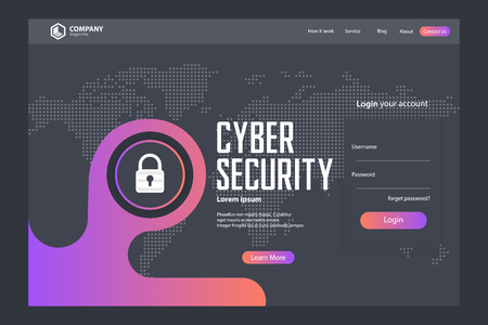 Cyber Security Landing Page Vector Template Design Vettoriali