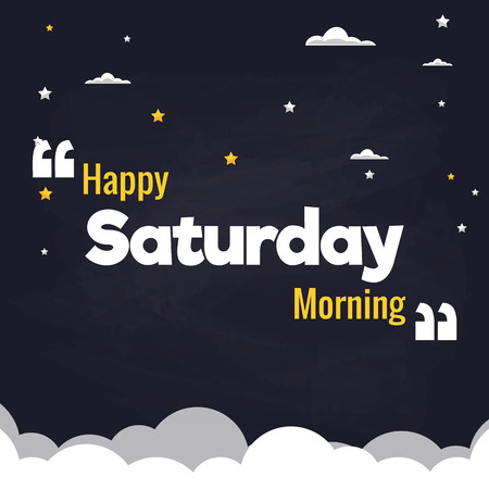 Happy Saturday Morning Flat Illustration Background Vector Design Vettoriali