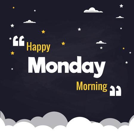 Happy Monday Morning Flat Illustration Background Vector Design