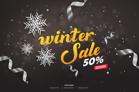 Winter Sale 50% Discount Vector Background Illustration Vettoriali