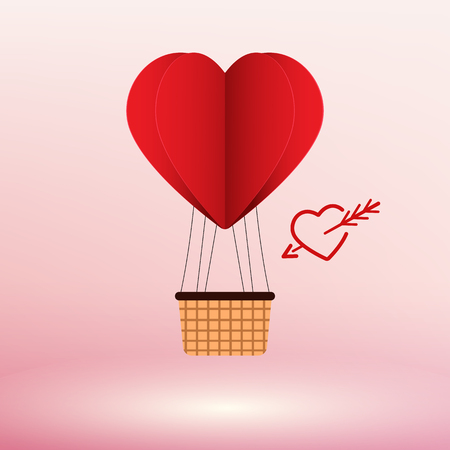 Paper Art Heart Air Balloon Vector illustration Concept Vettoriali