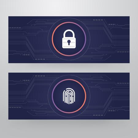 Cyber Security Lock - Finger Print Access Card Template Design