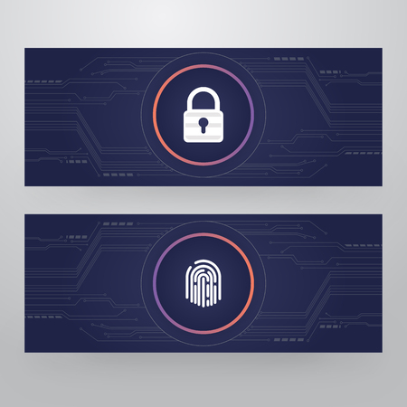 Cyber Security Lock - Finger Print Access Card Template Design