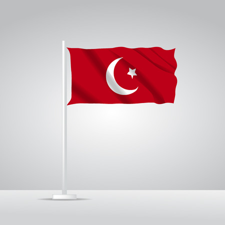 3D Realistic Turkey Flag waving Vector illustration