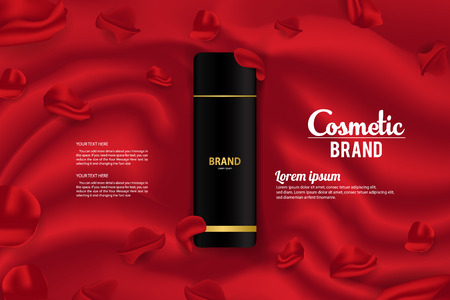 Cosmetic Banner Ads Product Packaging Vector Template Design Vettoriali