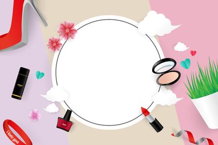 Cosmetic Vector Illustration Sale Banner Template Design