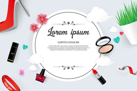 Cosmetic Vector Illustration Sale Banner Template Design