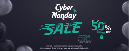 Cyber Monday Social Media Sale Banner Ad Vector Template Design Vettoriali
