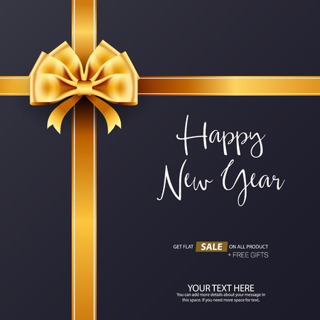 Happy New Year Gift Sale Vector Background Template Design