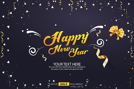 Happy New Year Sale Banner Cover Vector Template Design Vettoriali