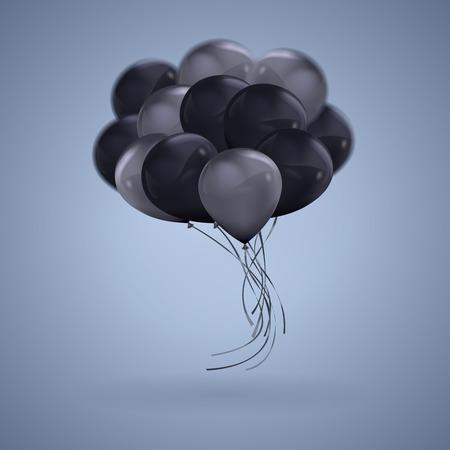 3D realistic Dark Color Balloons Vector Clipart Illustration Vettoriali