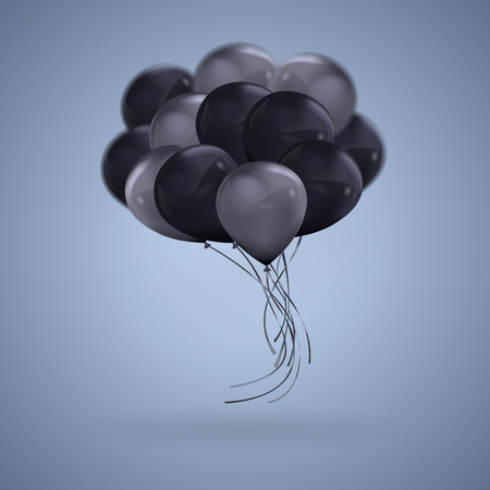 3D realistic Dark Color Balloons Vector Clipart Illustration Vettoriali