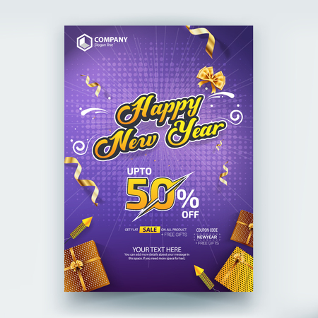 Happy New Year 50% Sale Flyer Poster Vector Template Design