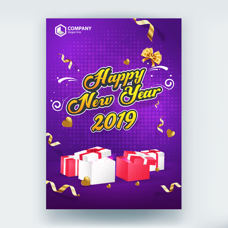 Happy New Year 2019 Sale Flyer Poster Vector Template Design