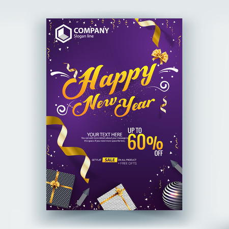 Happy New Year 60% Sale Flyer Poster Vector Template Design