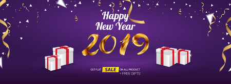 Happy New Year 2019 Sale Banner Advertising Vector Template Design Vettoriali