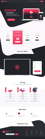 Website Landing Page Design Web Analytics Website Vector Template Design