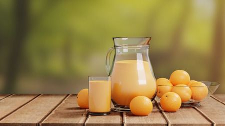 Orange Juice with Glass and Pitcher on Wooden Floor Nature Background
