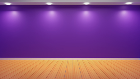 Purple Wall Studio Light with Empty Wooden Floor Background