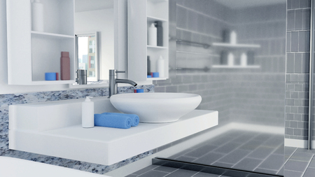 3D Rendered Bathroom Interior Design With Blue Towels Archivio Fotografico - 112701203