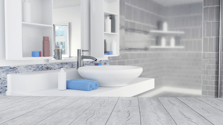 Bathroom Interior Design With Blue Towels and Empty Wooden Floor Archivio Fotografico - 112701204