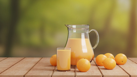 Orange Juice with Glass and Pitcher on Wooden Floor Nature Background Archivio Fotografico - 112701209