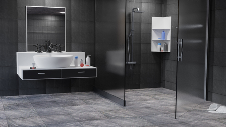 Bathroom Interior 3D Rendered illustration Background Archivio Fotografico - 121005045