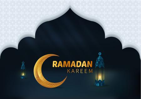 Happy Beautiful Ramadan Kareem Vector Background Illustration Vettoriali