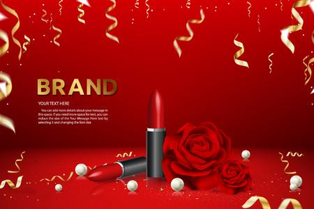 Lipstick Advertising Banner Brand Product Ad Vector Illustration Archivio Fotografico - 121442738