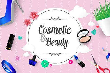 Beautiful Cosmetic and Beauty Vector Background Illustration Vettoriali