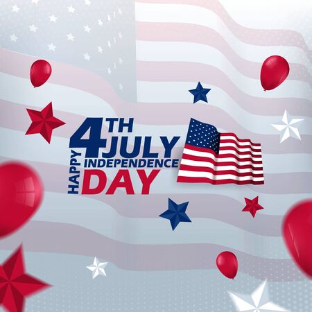 4th july happy independence day Vector Template Design Archivio Fotografico - 127686495