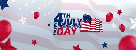 4th july happy independence day Vector Template Design Vettoriali