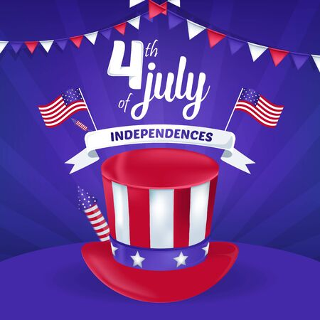 4th of July America Independence Day Vector Illustration Background Archivio Fotografico - 127686497