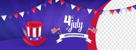 4th of July America Independence Day Vector Illustration Background Archivio Fotografico - 127686498