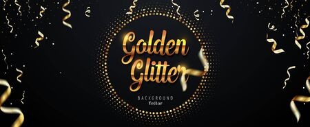 Abstract Golden Glitter Background with Falling Ribbons