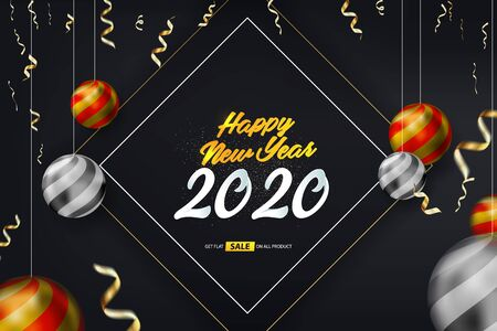 Happy New Year 2020 Vector Background Illustration