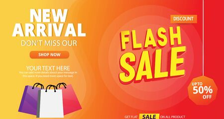 flash Sale Banner template with shopping bag new arrival