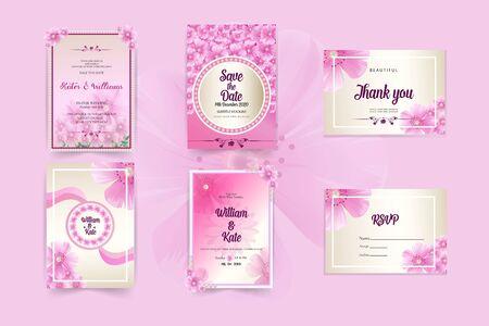 pink wedding invitation card template stationery set