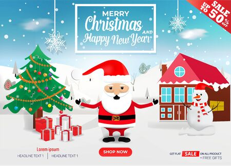 Christmas sale banner template with new year
