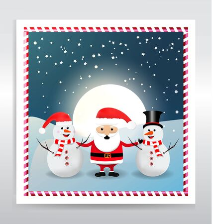 Santa Claus with snowman abstract
