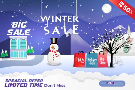 realistic winter sale banner template with shopping bag & santa claus Ilustração