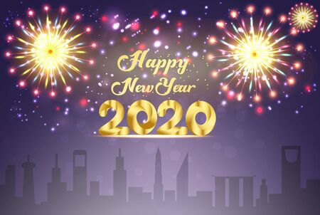 Happy new year 2020 with gold beautiful fireworks Archivio Fotografico - 134809178