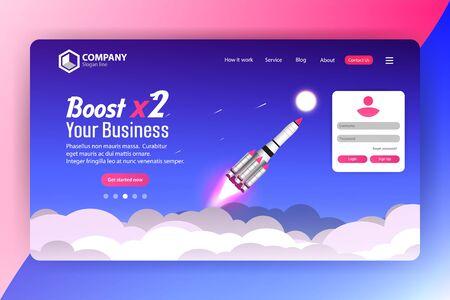 Boost Business Website Landing Page Vector Template Design Concept